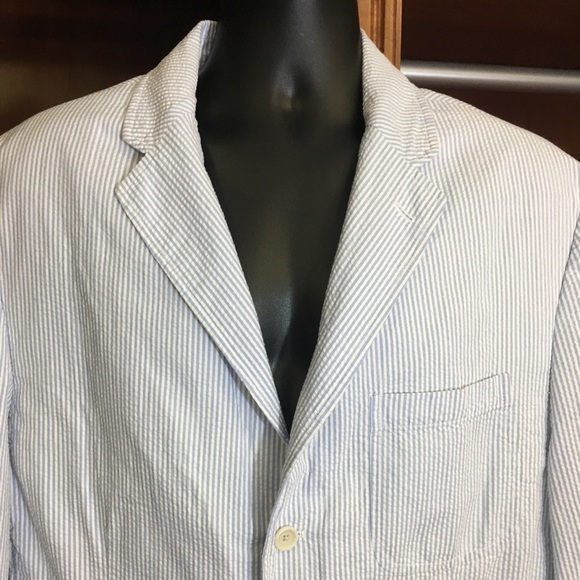 220c4d6918 Ralph Lauren Seersucker Sport Coat Blue/White XL